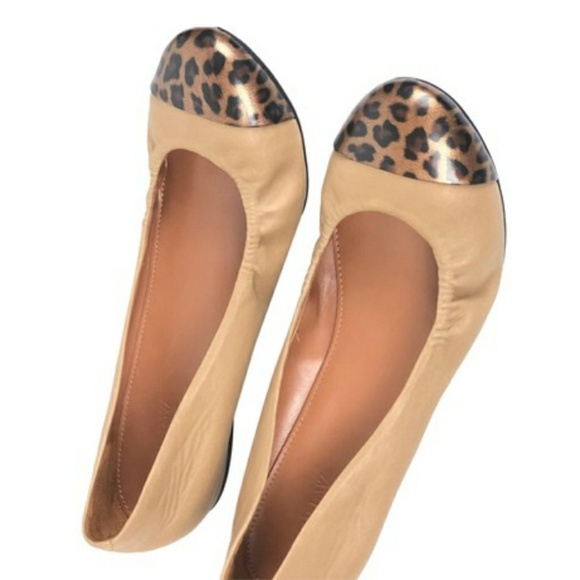 c776e8cb3227 J. Crew Shoes | J Crew Tan Animal Print Cap Ballerina Flats 85 ...